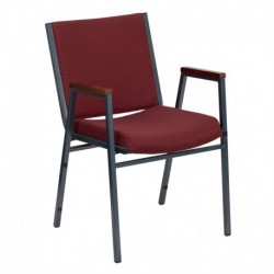 MFO Heavy Duty, 3'' Thickly Padded, Burgundy Patterned Upholstered Stack Chair with Arms
