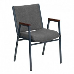MFO Heavy Duty, 3'' Thickly Padded, Gray Upholstered Stack Chair with Arms