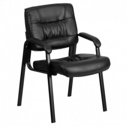 MFO Black Leather Guest / Reception Chair with Black Frame Finish