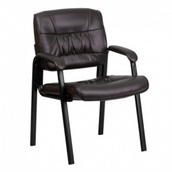 MFO Brown Leather Guest / Reception Chair with Black Frame Finish