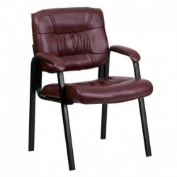 MFO Burgundy Leather Guest / Reception Chair with Black Frame Finish