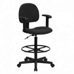 MFO Black Patterned Fabric Ergonomic Drafting Stool with Arms (Adjustable Range 26''-30.5''H or 22.5''-27''H)