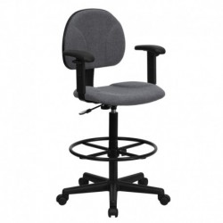 MFO Gray Fabric Ergonomic Drafting Stool with Arms (Adjustable Range 26''-30.5''H or 22.5''-27''H)