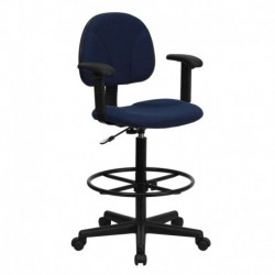 MFO Navy Blue Patterned Fabric Ergonomic Drafting Stool with Arms (Adjustable Range 26''-30.5''H or 22.5''-27''H)