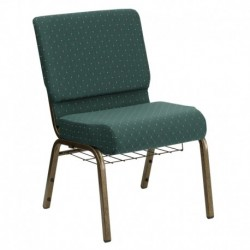 MFO 21'' Extra Wide Hunter Green Dot Patterned Fabric Church Chair with 4'' Thick Seat, Cup Book Rack - Gold Vein Frame
