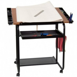 MFO Adjustable Drawing and Drafting Table with Black Frame and Dual Wheel Casters
