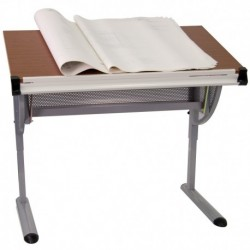 MFO Adjustable Drawing and Drafting Table with Pewter Frame
