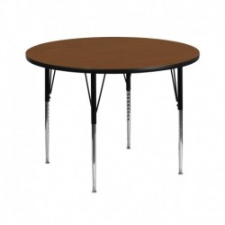 MFO 42'' Round Activity Table with 1.25'' Thick High Pressure Oak Laminate Top and Standard Height Adjustable Legs