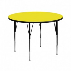 MFO 42'' Round Activity Table with 1.25'' Thick High Pressure Yellow Laminate Top and Standard Height Adjustable Legs