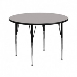 MFO 42'' Round Activity Table with 1.25'' Thick High Pressure Grey Laminate Top and Standard Height Adjustable Legs