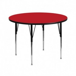 MFO 42'' Round Activity Table with 1.25'' Thick High Pressure Red Laminate Top and Standard Height Adjustable Legs