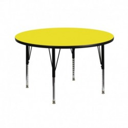 MFO 42'' Round Activity Table with 1.25'' Thick High Pressure Yellow Laminate Top and Height Adjustable Pre-School Legs