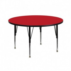 MFO 42'' Round Activity Table with 1.25'' Thick High Pressure Red Laminate Top and Height Adjustable Pre-School Legs