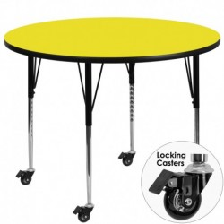 MFO Mobile 42'' Round Activity Table with 1.25'' Thick High Pressure Yellow Laminate Top and Standard Height Adjustable Legs