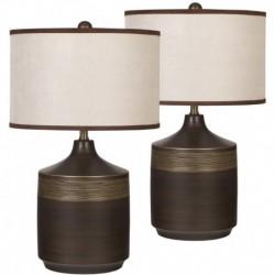 MFO Karissa Brown Ceramic Table Lamp, Set of 2