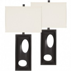 MFO Maxine Black Poly Table Lamp, Set of 2