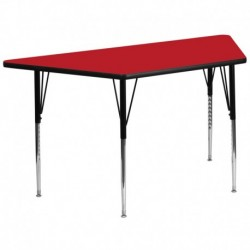 MFO 30''W x 60''L Trapezoid Activity Table with 1.25'' Thick High Pressure Red Laminate Top and Standard Height Adjustable Legs