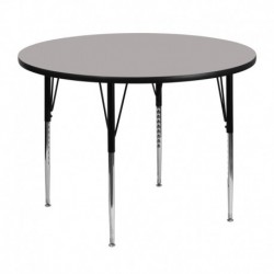 MFO 48'' Round Activity Table with 1.25'' Thick High Pressure Grey Laminate Top and Standard Height Adjustable Legs