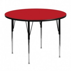 MFO 48'' Round Activity Table with 1.25'' Thick High Pressure Red Laminate Top and Standard Height Adjustable Legs