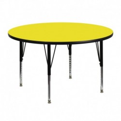MFO 48'' Round Activity Table with 1.25'' Thick High Pressure Yellow Laminate Top and Height Adjustable Pre-School Legs