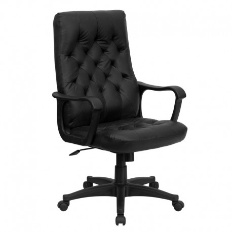MFO High Back Traditional Black Leather Executive Swivel Office Chair