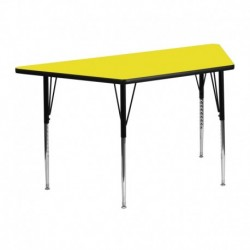 MFO 24''W x 48''L Trapezoid Activity Table with 1.25'' Thick H.P. Yellow Laminate Top and Standard Height Adjustable Legs