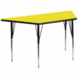 MFO 30''W x 60''L Trapezoid Activity Table with 1.25'' Thick H.P. Yellow Laminate Top and Standard Height Adjustable Legs