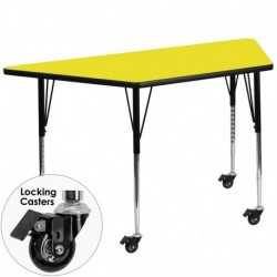 MFO Mobile 24''W x 48''L Trapezoid Activity Table with 1.25'' Thick H.P. Yellow Laminate Top and Standard Height Adjustable Legs