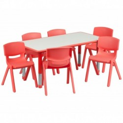 MFO 23.625''W x 47.25''L Adjustable Rectangular Red Plastic Activity Table Set with 6 School Stack Chairs