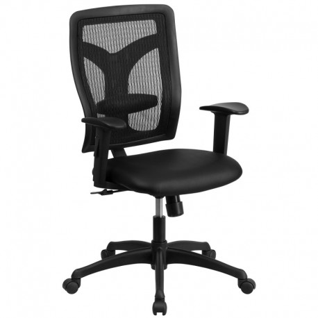 MFO Galaxy High Back Designer Back Task Chair with Adjustable Height Arms and Padded Leather Seat