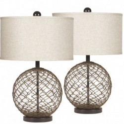 MFO Regina Wrapped Transparent Glass Table Lamp, Set of 2