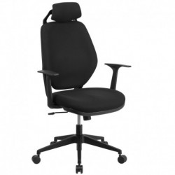 MFO High Back Black Fabric Office Chair with Height Adjustable Headrest