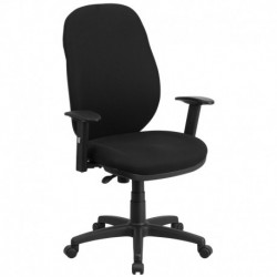 MFO High Back Black Fabric Ergonomic Task Chair with Flex Back and Height Adjustable Arms