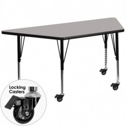 MFO Mobile 24''W x 48''L Trapezoid Activity Table with 1.25'' Thick H.P. Grey Laminate Top and Height Adj. Pre-School Legs
