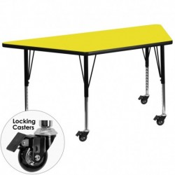 MFO Mobile 24''W x 48''L Trapezoid Activity Table with 1.25'' Thick H.P. Yellow Laminate Top and Height Adj. Pre-School Legs