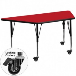 MFO Mobile 30''W x 60''L Trapezoid Activity Table with 1.25'' Thick H.P. Red Laminate Top and Height Adj. Pre-School Legs