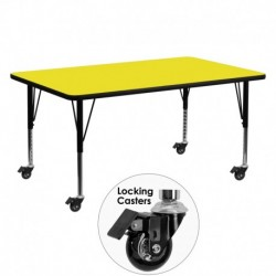 MFO Mobile 24''W x 60''L Rectangular Activity Table with 1.25'' Thick H.P. Yellow Laminate Top and Height Adj. Pre-School Legs