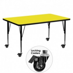 MFO Mobile 30''W x 60''L Rectangular Activity Table with 1.25'' Thick H.P. Yellow Laminate Top and Height Adj. Pre-School Legs