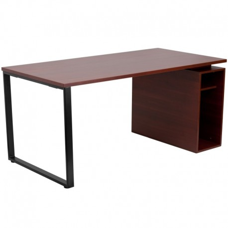 MFO Mahogany Computer Desk with Open Storage Pedestal