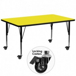 MFO Mobile 30''W x 72''L Rectangular Activity Table with 1.25'' Thick H.P. Yellow Laminate Top and Height Adj. Pre-School Legs