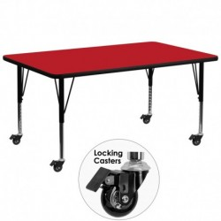 MFO Mobile 30''W x 72''L Rectangular Activity Table with 1.25'' Thick H.P. Red Laminate Top and Height Adj. Pre-School Legs