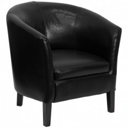 MFO Black Leather Barrel Shaped Guest Chair