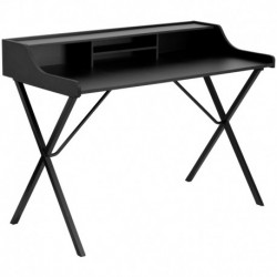 MFO Black Computer Desk with Top Shelf