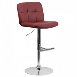 MFO Contemporary Tufted Burgundy Vinyl Adjustable Height Bar Stool with Chrome Base