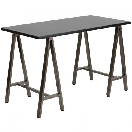MFO Black Computer Desk with Brown Frame