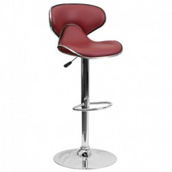 MFO Contemporary Cozy Mid-Back Burgundy Vinyl Adjustable Height Bar Stool with Chrome Base