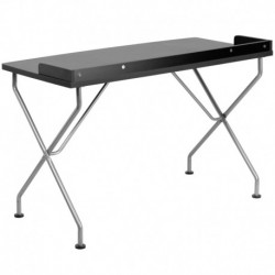 MFO Black Computer Desk with Silver Frame