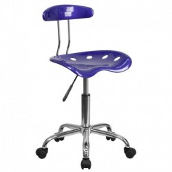 MFO Vibrant Deep Blue and Chrome Computer Task Chair with Tractor Seat