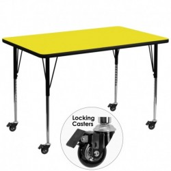 MFO Mobile 36''W x 72''L Rectangular Activity Table with 1.25'' Thick H.P. Yellow Laminate Top and Standard Height Adj. Legs