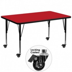 MFO Mobile 36''W x 72''L Rectangular Activity Table with 1.25'' Thick H.P. Red Laminate Top and Height Adj. Pre-School Legs